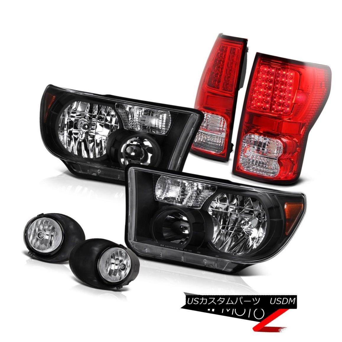 テールライト Black Headlight+Led Tail Light+Fog Lamp 6PC COMBO 07-2013 Toyota Tundra ブラックヘッドライト+ Ledテールライト+フォグランプ6PC COMBO 07-2013 Toyota Tundra