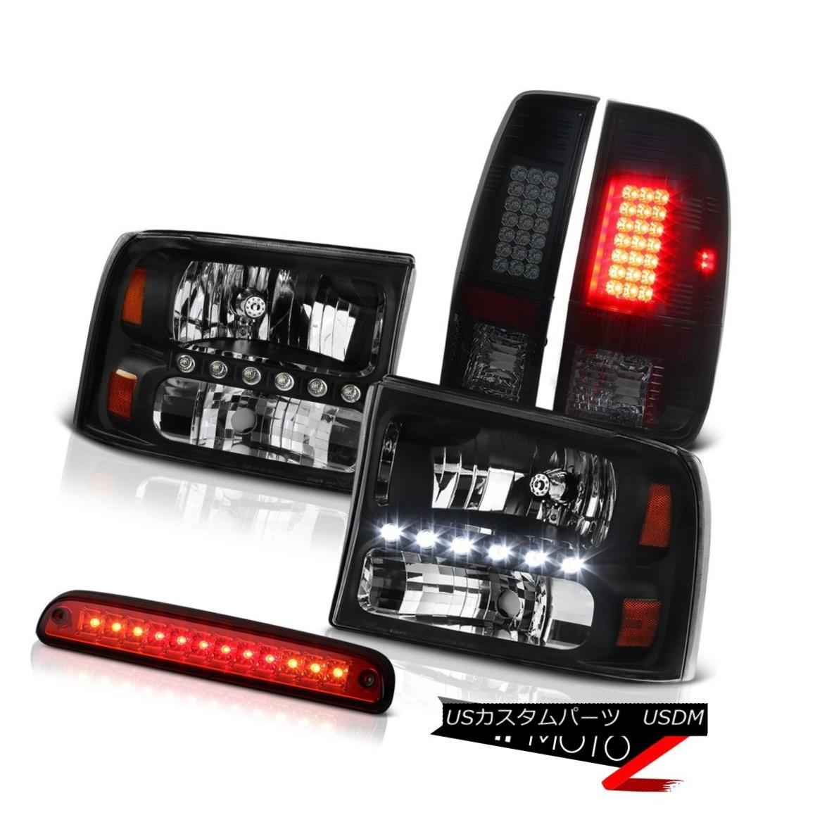 テールライト Black Euro Headlamps Third Brake Red LED Blubs Rear Tail Light 99-04 F350 6.8L ブラックユーロヘッドランプ第3ブレーキ赤色LED電球リアテールライト99-04 F350 6.8L