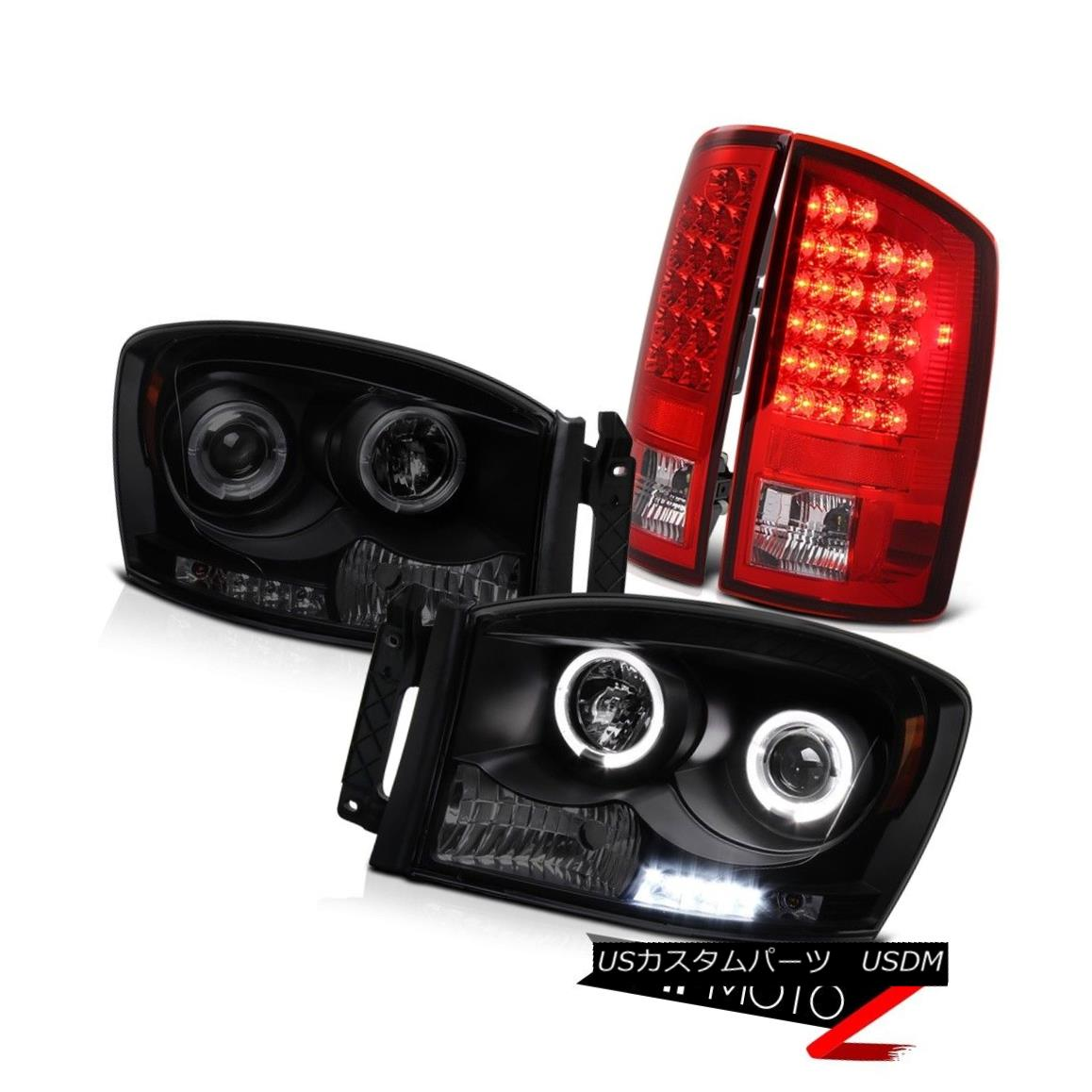テールライト 2006 Dodge Ram 4x4 2X Angel Eye Projector Headlight BRIGHTEST Red LED Tail Light 2006 Dodge Ram 4x4 2XエンジェルアイプロジェクターヘッドライトBRIGHTESTレッドLEDテールライト