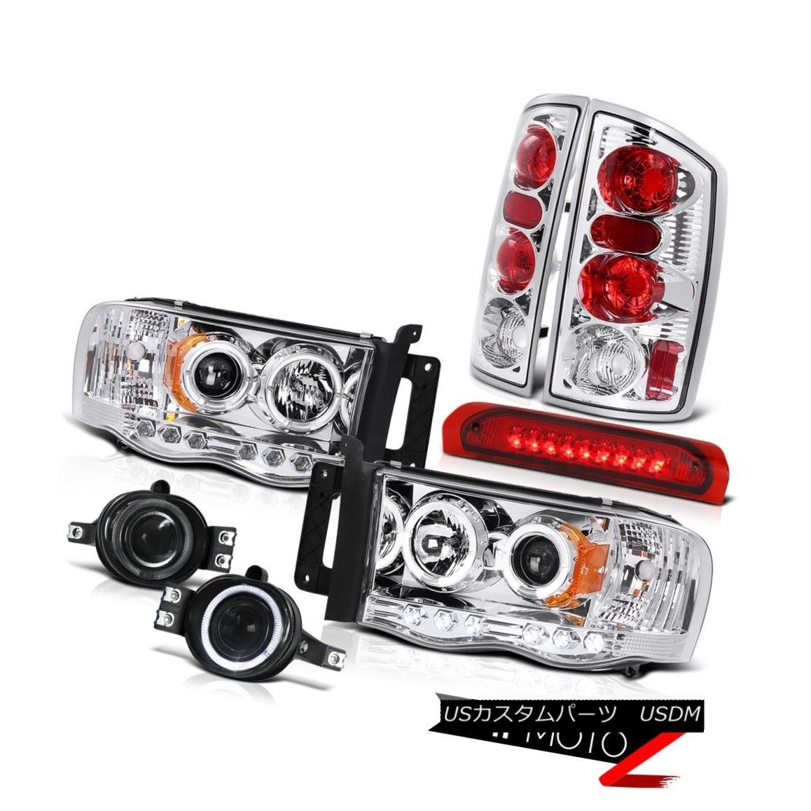 テールライト Halo Projector Headlight+LED 3rd Brake/Tail Lamp+Fog Light Dodge 02-05 RAM Truck ハロープロジェクターヘッドライト+ LED第3ブレーキ/テールランプ+フォグライトドッジ02-05 RAMトラック