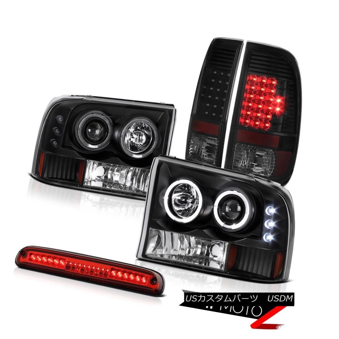 テールライト 99-04 F350 6.8L Black DRL Projector Headlights Brake Tail Lights LED High Stop 99-04 F350 6.8LブラックDRLプロジェクターヘッドライトブレーキテールライトLEDハイストップ