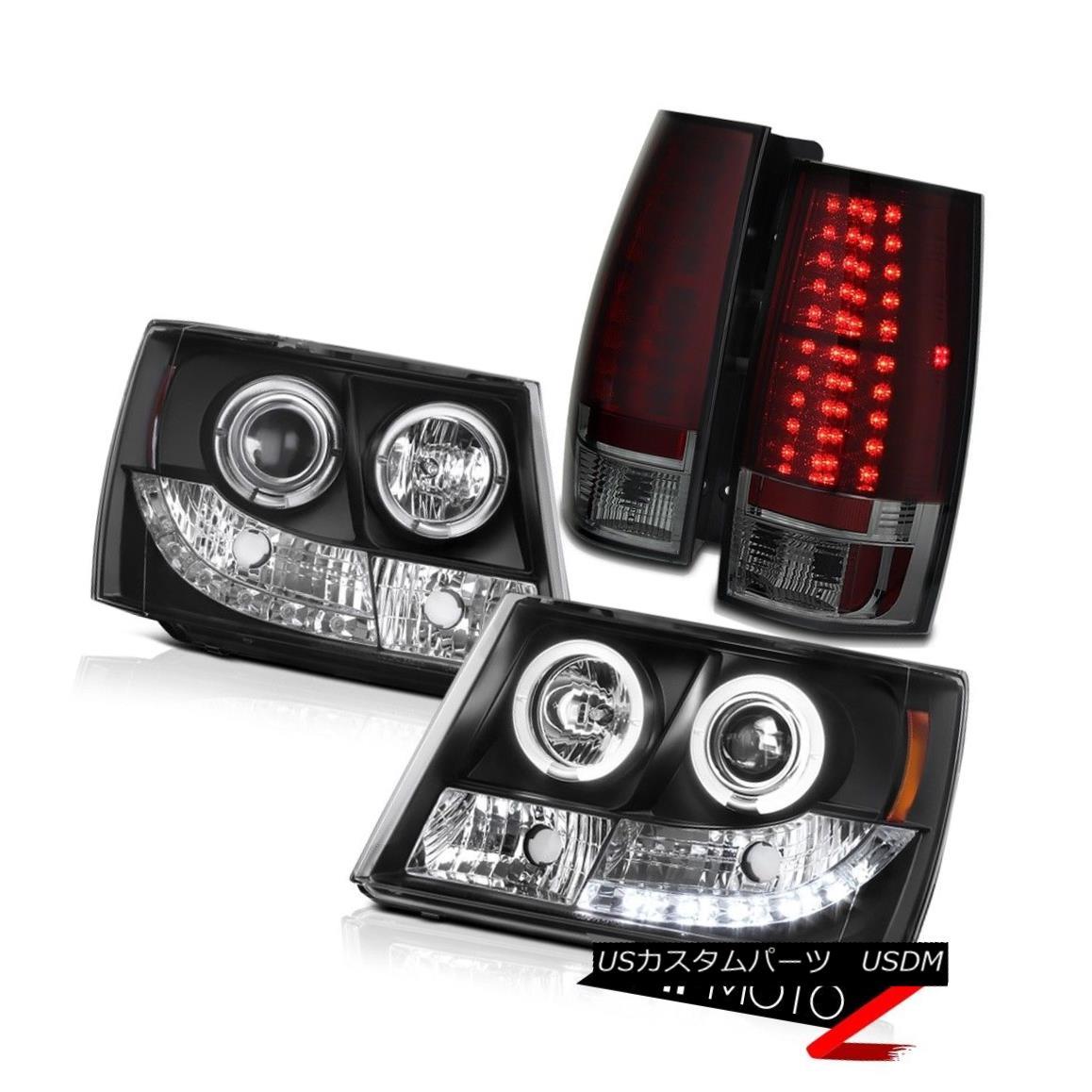 テールライト L+R SMOKEY RED LED Tail Light+HaLo Proejctor Headlights Chevy 2007-2013 Suburban L + R SMOKED RED LEDテールライト+ハロープロジェクターヘッドライトChevy 2007-2013郊外