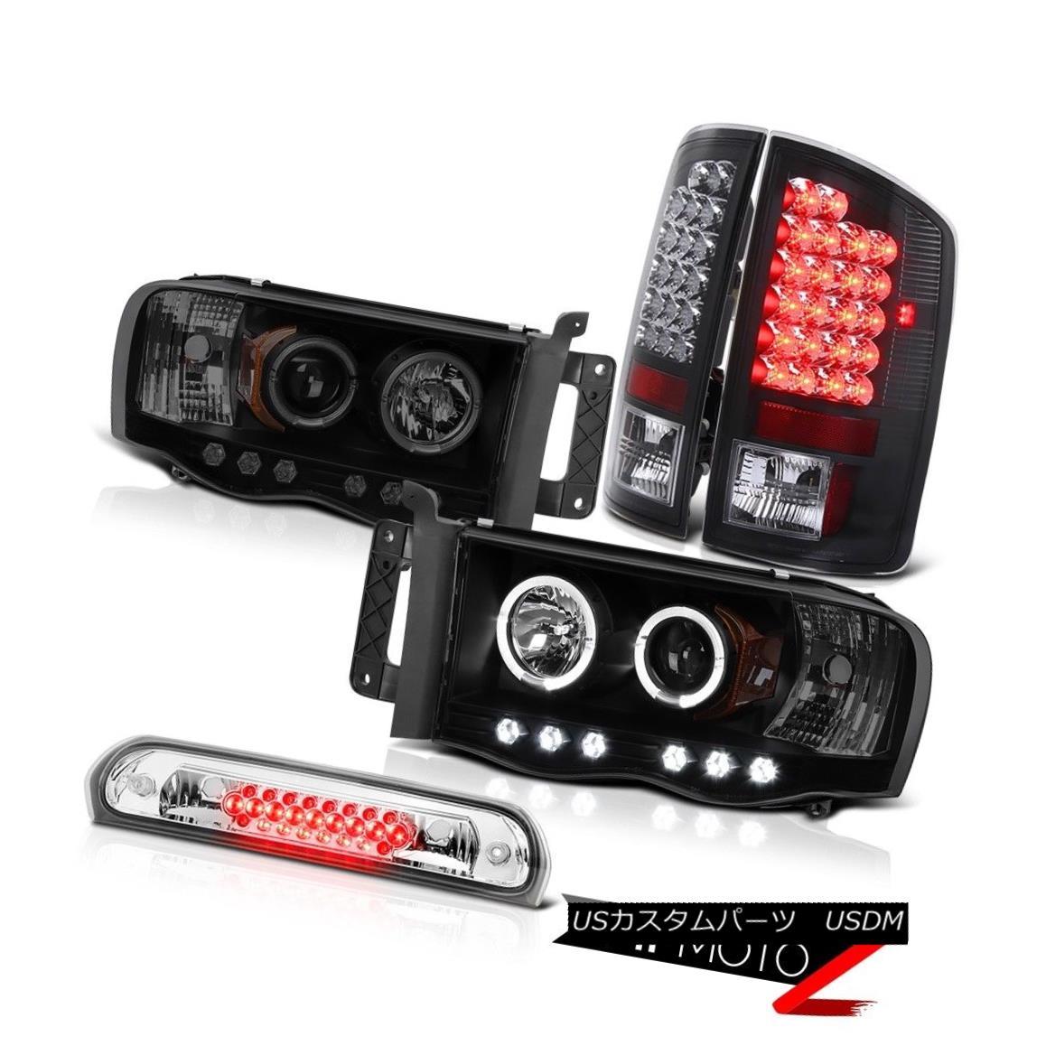 テールライト Black+Smoke Angel Eye Headlights SMD Brake Tail Lights 3rd LED 2002-2005 Ram V8 ブラック+スモークエンジェルアイヘッドライトSMDブレーキテールライト3rd LED 2002-2005 Ram V8