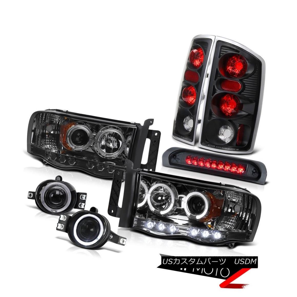 テールライト RAM 02-05 Dodge Smoke Halo Projector Headlight+LED 3rd Brake/Tail Light+Fog Lamp RAM 02-05ダッジスモークハロープロジェクターヘッドライト+ LED第3ブレーキ/テールライト+フォグランプ