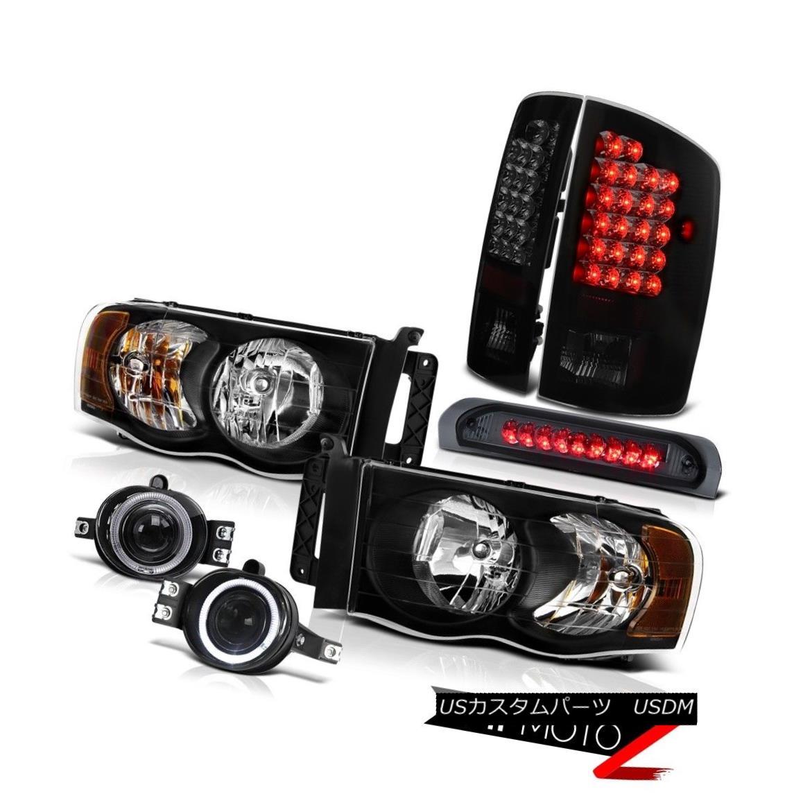 テールライト Ram 3500 03-05 Angel Eye Headlamps+3rd brake+Fog+Sinister Black LED Tail Lights Ram 3500 03-05エンジェルアイヘッドランプ+第3ブレーキ+フォグ+シーニー sterブラックLEDテールライト