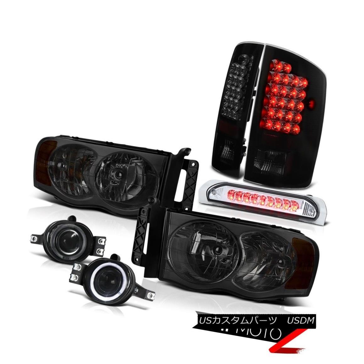 テールライト Dodge Ram 2500 Halo Headlamps+ Tail Lights+Driving Fog+LED Third Brake 2003-2005 ダッジラム2500ハローヘッドランプ&テールライト+ドライビングフォグ+ LEDサードブレーキ2003-2005