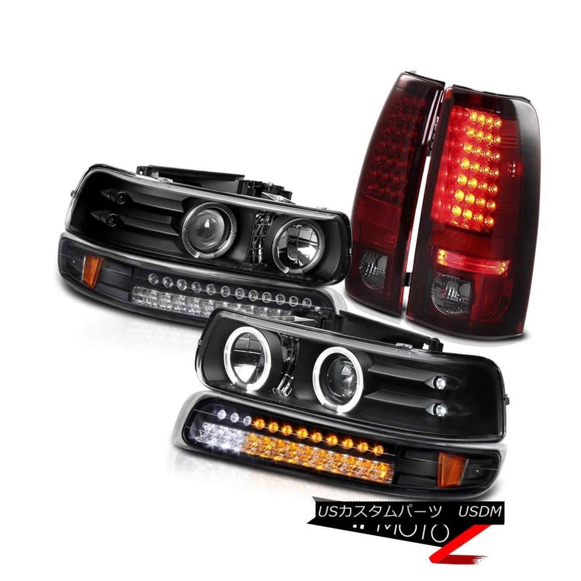 テールライト SMOKEY RED 99-02 Silverado PickUp Truck Halo LED Headlights Taillamps LEFT+RIGHT SMOKEY RED 99-02 Silverado PickUpトラックHalo LEDヘッドライトトライアングル左+右