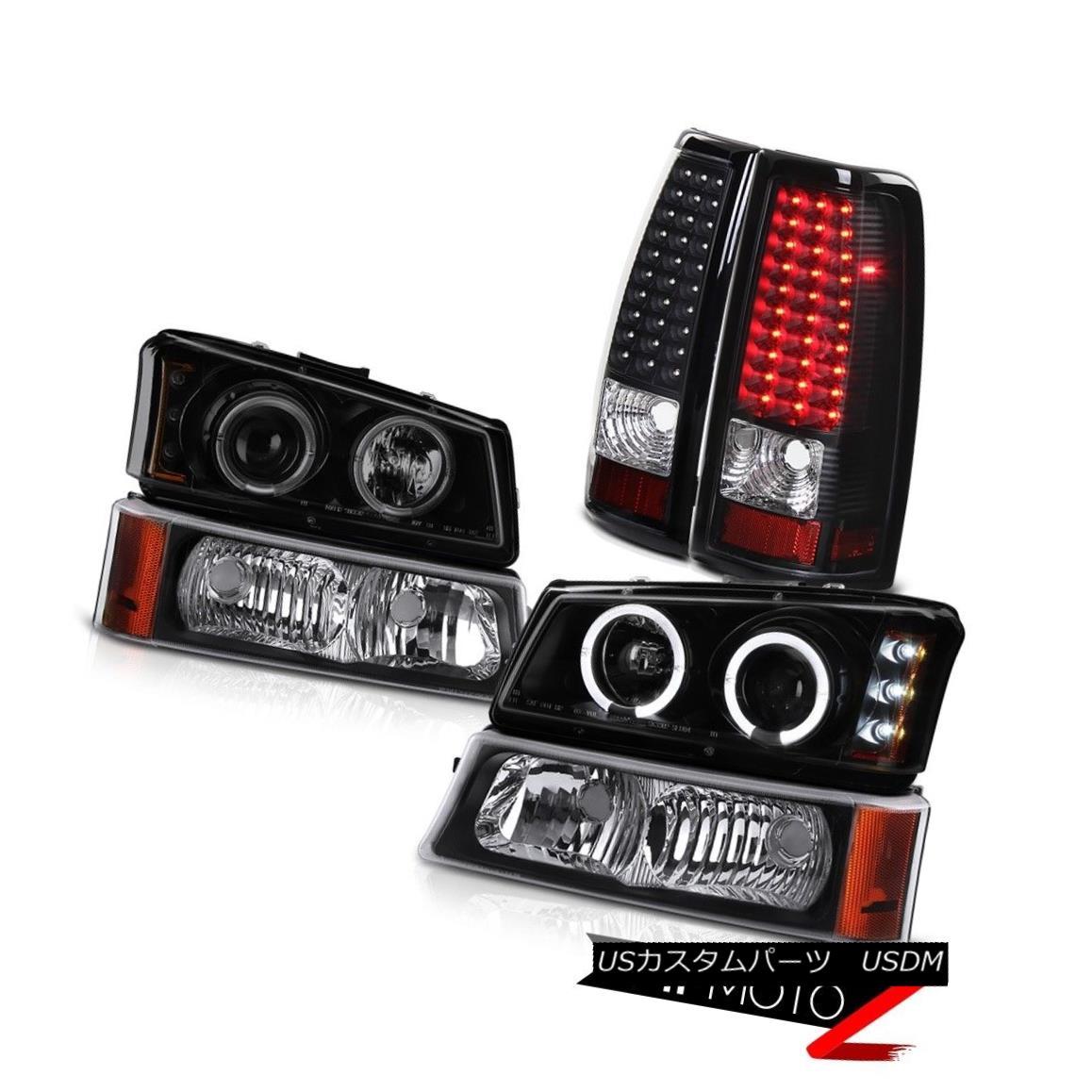 テールライト Sinister Black Headlights Halo Matte Signal L.E.D Tail Lights 03-06 Silverado SS Sinister BlackヘッドライトHalo Matte信号L.E.Dテールライト03-06 Silverado SS