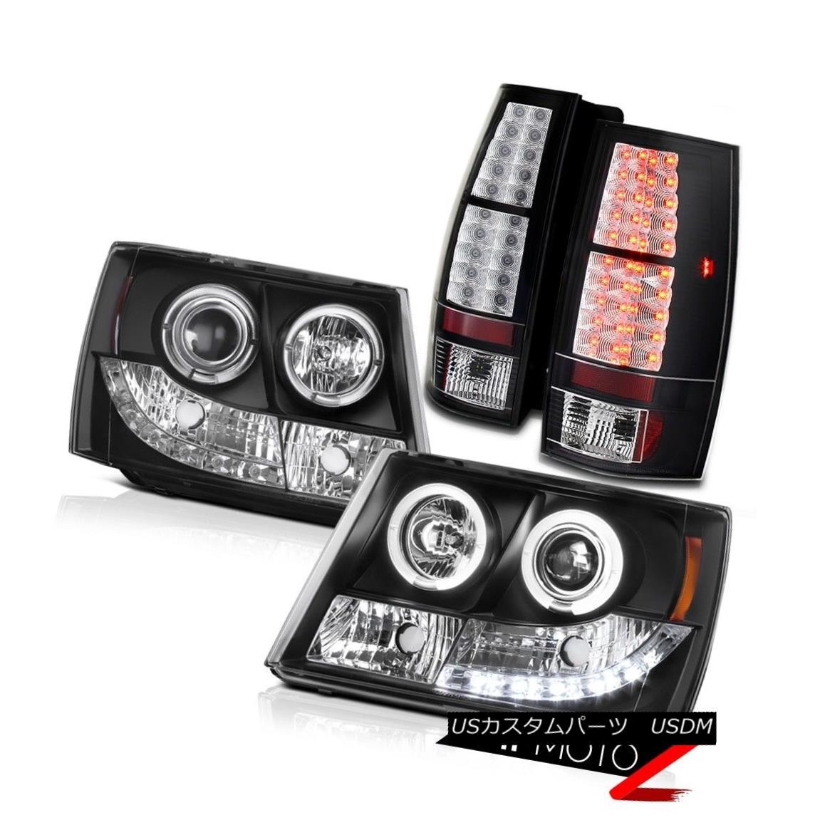 テールライト Suburban/Tahoe 07-13 Black Halo Projector SMD DRL Headlight+LED Tail Light Lamps 郊外/タホー07-13ブラックハロープロジェクターSMD DRLヘッドライト+ LEDテールライトランプ
