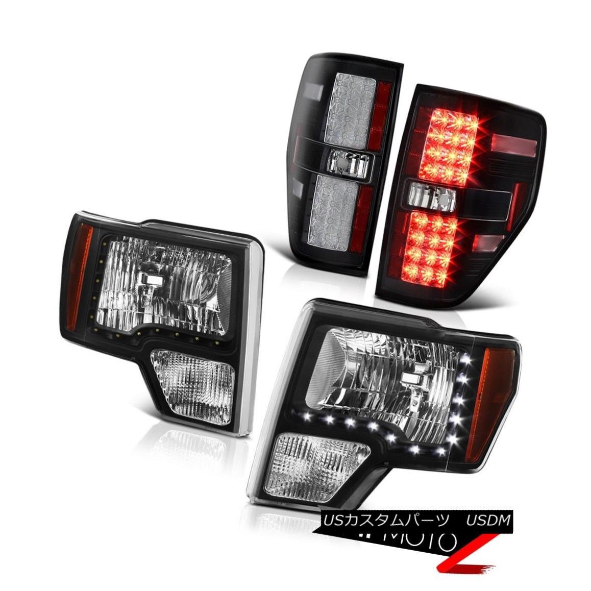 テールライト 2009-2014 Ford F150 STX Black Diamond Cut LED Headlight Lamp+LED Tail Light Lamp 2009-2014フォードF150 STXブラックダイヤモンドカットLEDヘッドライトランプ+ LEDテールライトランプ