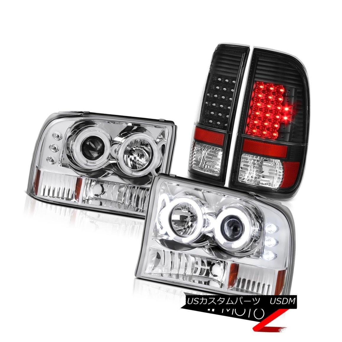 テールライト Projector Headlights CCFL Halo Black LED Tail Lamps 1999-2004 Ford F-250 F-350 プロジェクターヘッドライトCCFL Halo Black LEDテールランプ1999-2004 Ford F-250 F-350