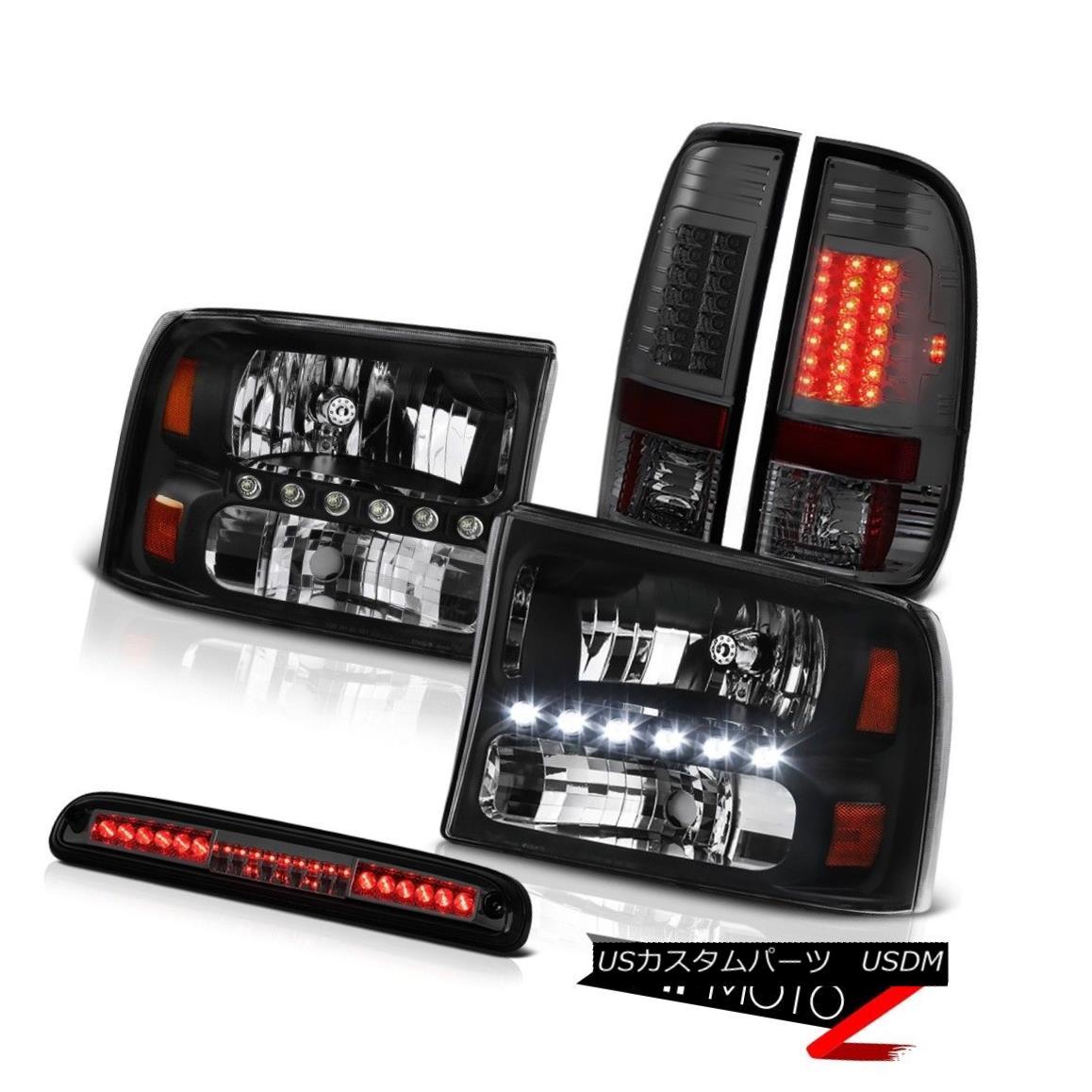 テールライト 99-04 F250 Turbo Diesel Clear/Black Headlight Smoke Brake Tail Roof Stop LED 99-04 F250ターボディーゼルクリア/ブラックヘッドライトスモークブレーキテールルーフストップLED