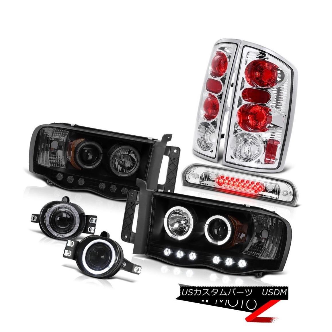 テールライト 2002-2005 Ram 3500 Black+Smoke Halo Headlights Brake Taillamps Projector Fog LED 2002-2005 Ram 3500 Black + Smoke HaloヘッドライトブレーキタイヤランププロジェクターフォグLED