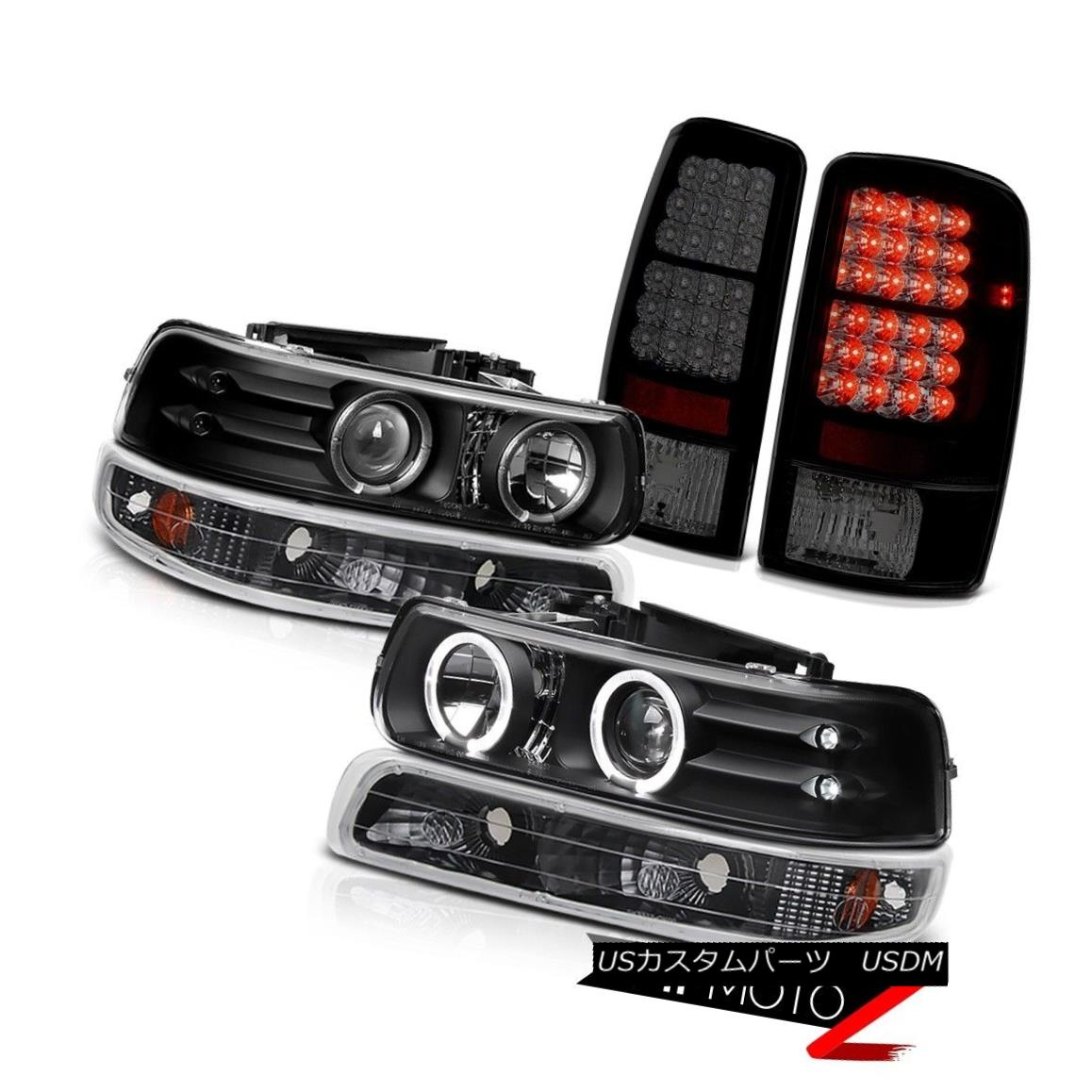 テールライト 2X Angel Eye Projector Headlights Parking Smoke LED Brake Lamps 01-06 Tahoe Z71 2XエンジェルアイプロジェクターヘッドライトパーキングスモークLEDブレーキランプ01-06タホZ71