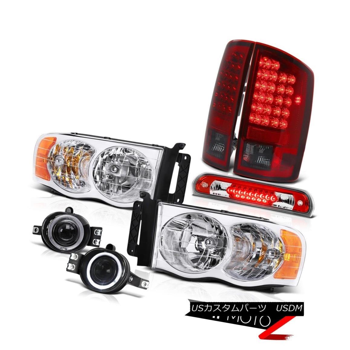 テールライト 02-05 Dodge Ram Pair Headlights Wine Red LED Tail Lights Projector Fog 3rd Brake 02-05 Dodge RamペアヘッドライトワインレッドLEDテールライトプロジェクターフォグ3rdブレーキ