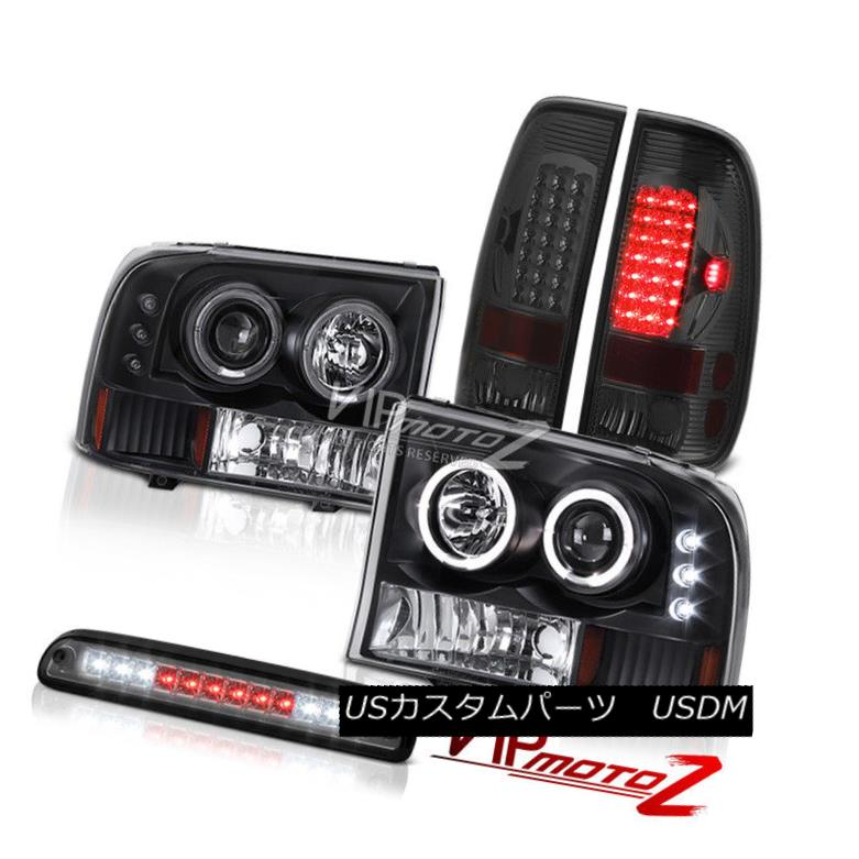 テールライト Black Headlights Projector Roof Brake Cargo LED Bulbs Tail Light 99-04 F250 6.8L ブラックヘッドライトプロジェクタールーフブレーキカーゴLED電球テールライト99-04 F250 6.8L