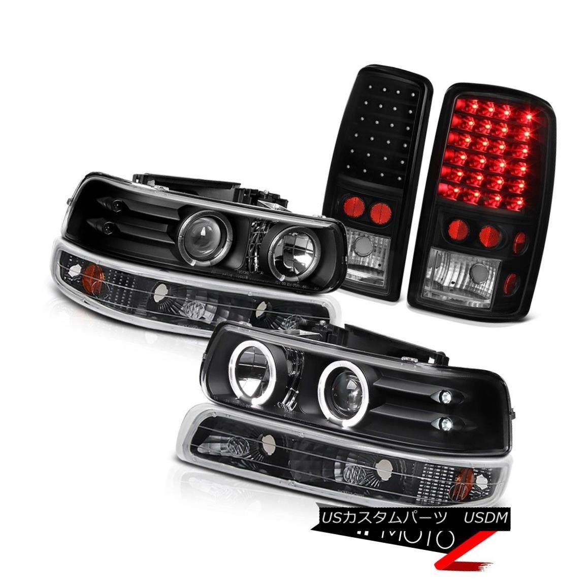 テールライト 2000-2006 Tahoe 4.8L LED Angel Eye Projector Headlights Black Signal Taillights 2000-2006タホ4.8L LEDエンジェルアイプロジェクターヘッドライトブラックシグナルテールライト