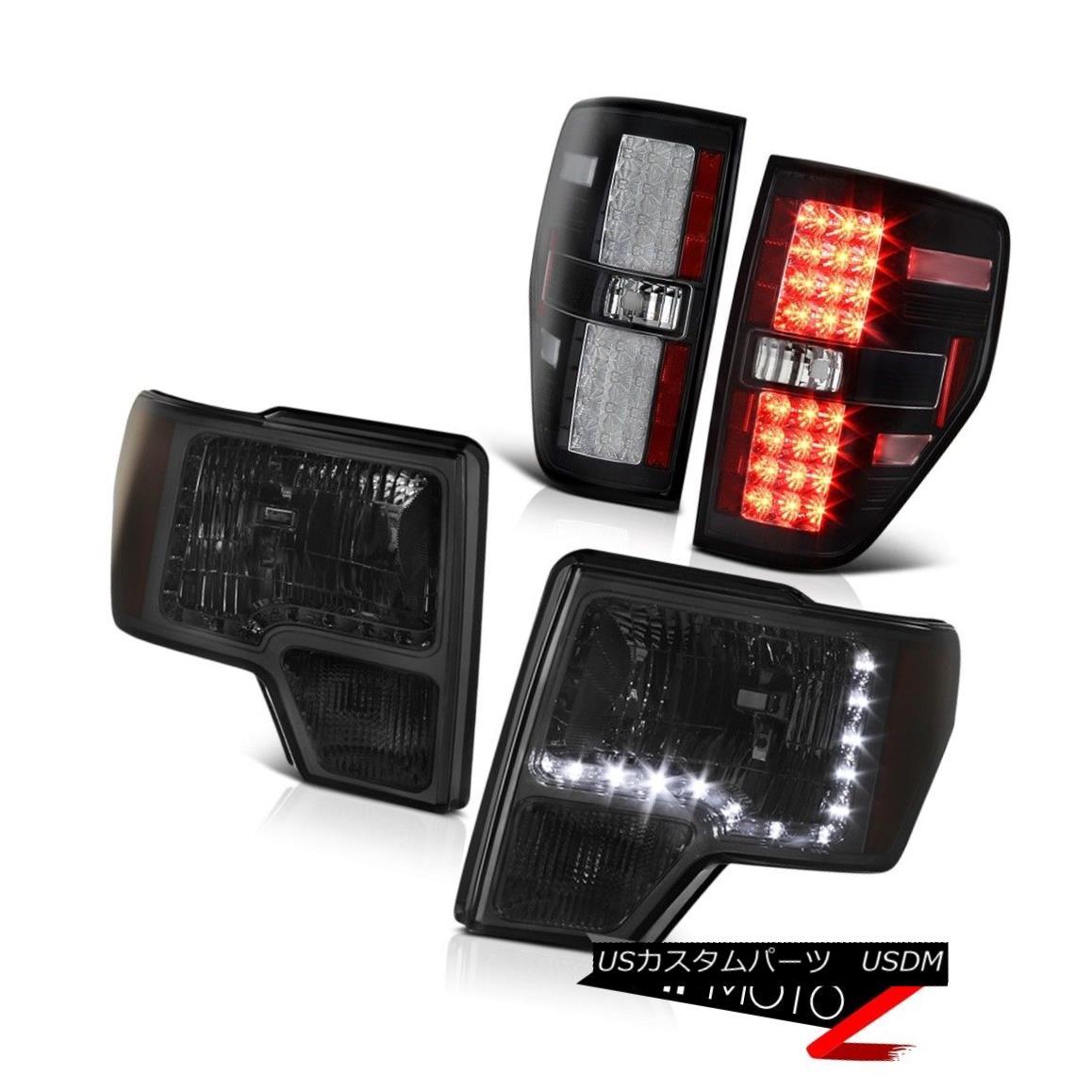 テールライト Ford F150 2009-2014 Smoke LED Headlight Amber Signal Lamp+Black LED Tail Light フォードF150 2009-2014煙LEDヘッドライト琥珀色の信号ランプ+ブラックLEDテールライト