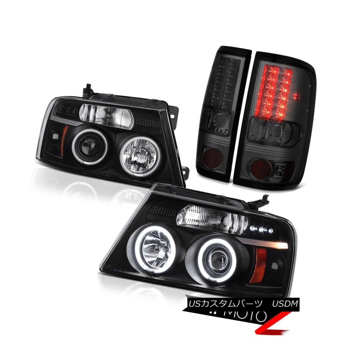 テールライト 2004-2008 Ford F150 Truck CCFL Halo Rim Black Headlights LED Smoke Taillights 2004-2008フォードF150トラックCCFLハローリムブラックヘッドライトLEDスモークテイルライト