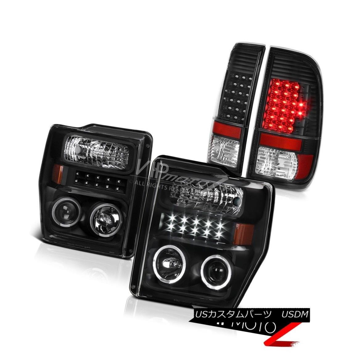 テールライト BLACK 2008-2010 Ford F250 F350 SuperDuty SMD Angel Eye Head Lights Tail Lamps BLACK 2008-2010 Ford F250 F350 SuperDuty SMDエンジェルアイヘッドライトテールランプ