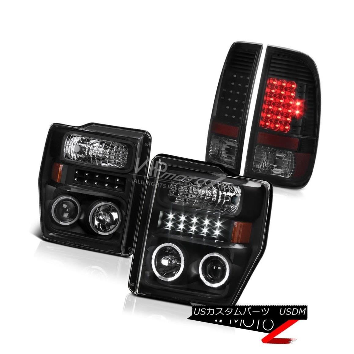 テールライト 08 09 10 Ford F250 F350 F450 Black Headlights SMD LED Halo LED Tail Lights Lamps 08 09 10 Ford F250 F350 F450ブラックヘッドライトSMD LED Halo LEDテールライトランプ