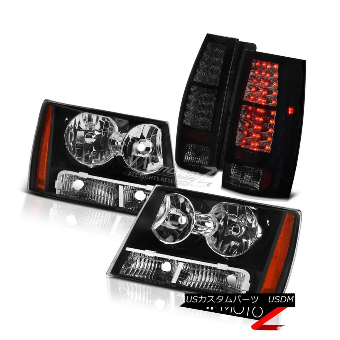 テールライト 2007-2014 Chevy Tahoe Suburban Black Smoke LED Rear Tail Lights Headlights LH+RH 2007-2014シボレータホー郊外の黒い煙LED後部テールライトヘッドライトLH + RH