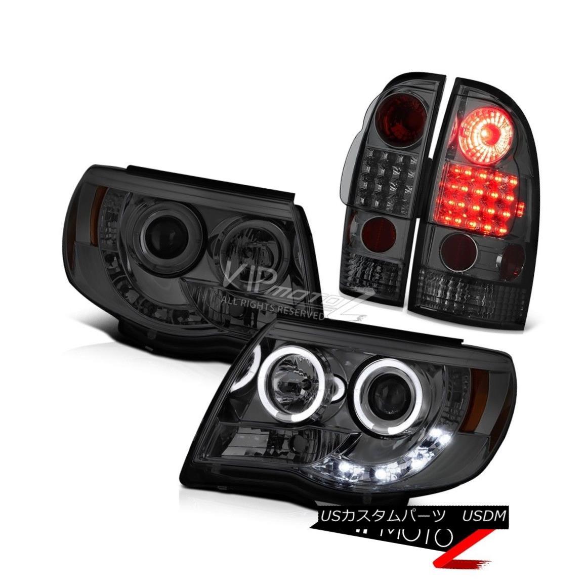 テールライト 2005-2011 Toyota Tacoma Smoke Halo Rim LED Headlights Smoke SMD Brake Tail Light 2005-2011トヨタタコマスモークハローリムLEDヘッドライトスモークSMDブレーキテールライト