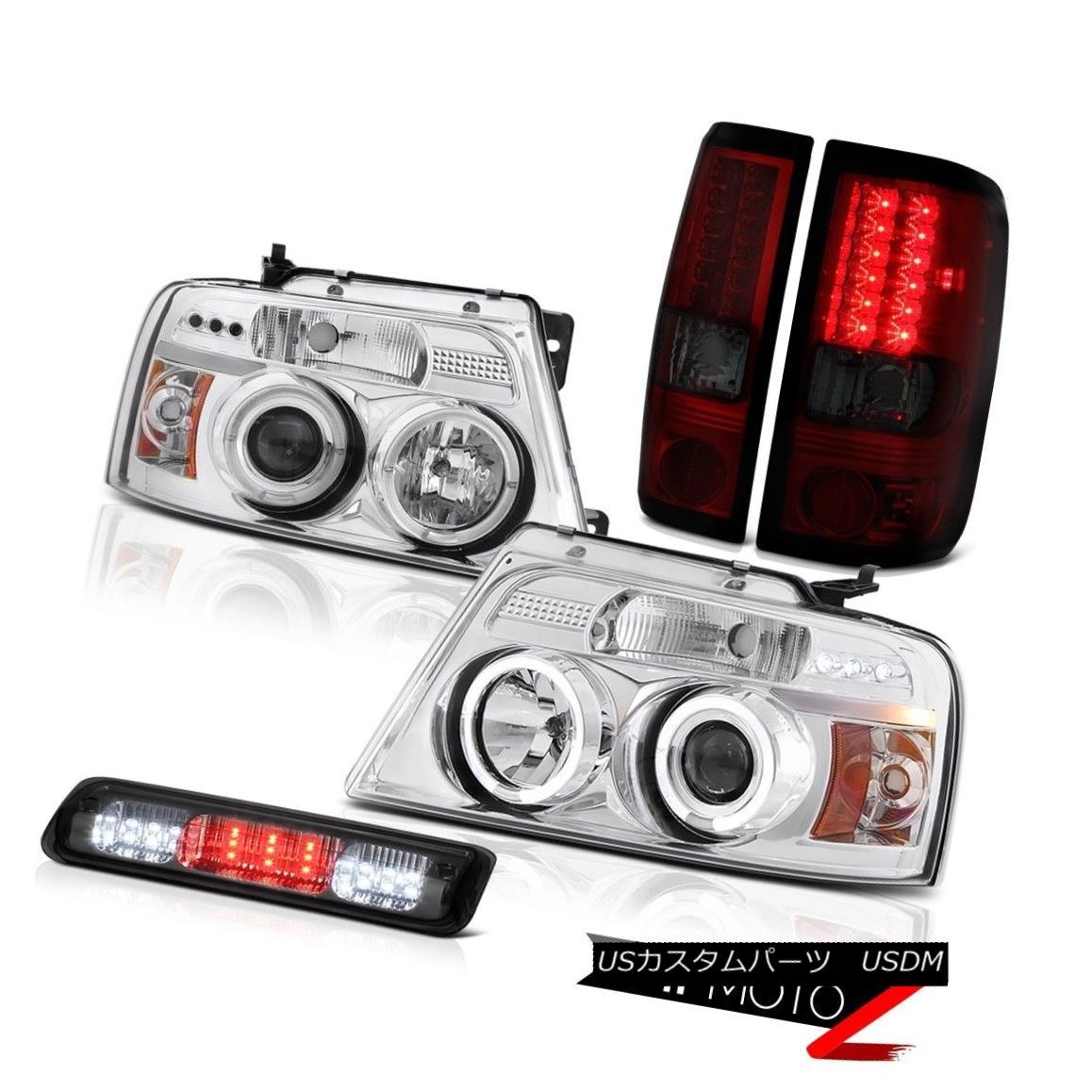 テールライト 04-08 Ford F150 STX 3rd Brake Lamp Headlamps Tail Lamps LED Angel Eyes Halo Ring 04-08 Ford F150 STX第3ブレーキランプヘッドランプテールランプLEDエンジェルアイズハローリング