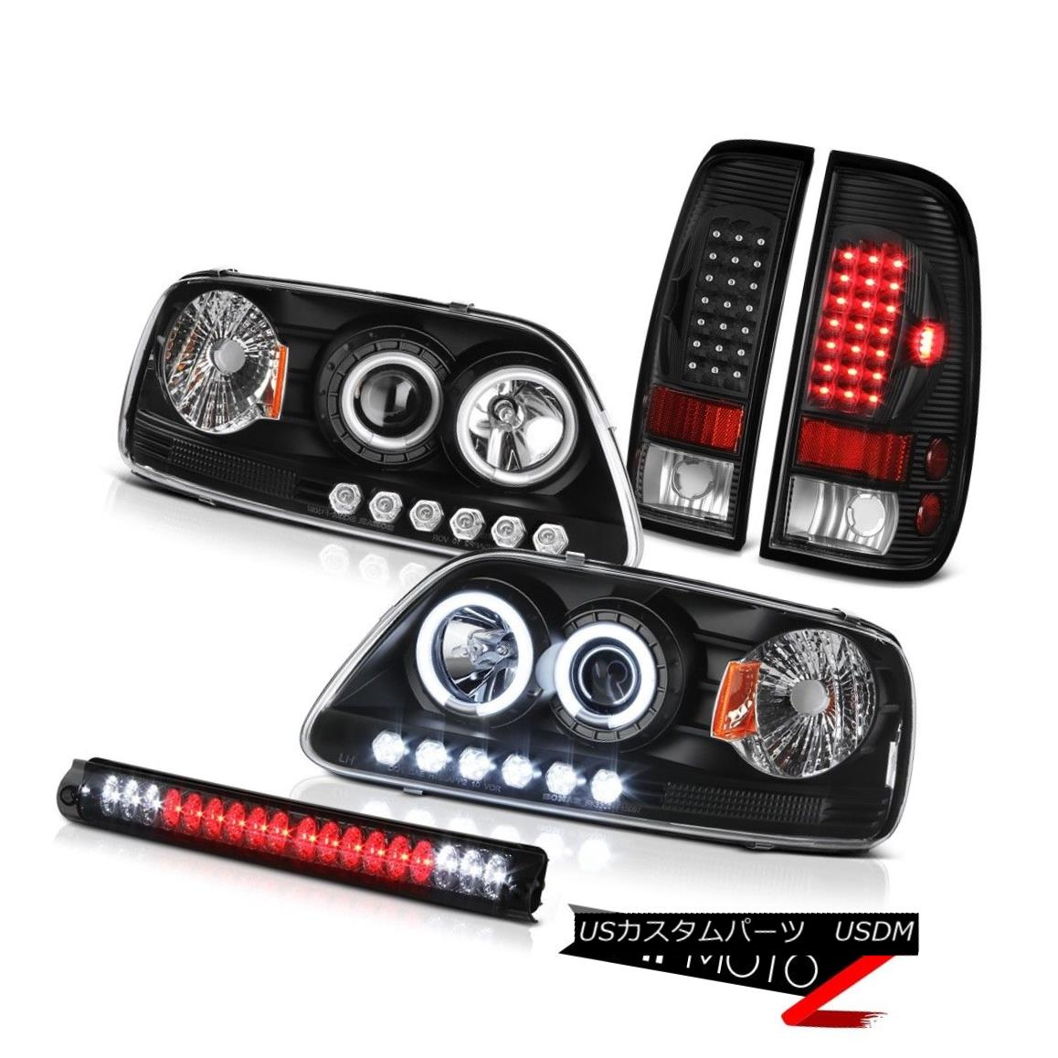 テールライト Devil CCFL Halo Ring Headlight 97 98 F150 Lariat Black Brake Tail Light Lamp LED 悪魔CCFL Haloリングヘッドライト97 98 F150 LariatブラックブレーキテールライトランプLED