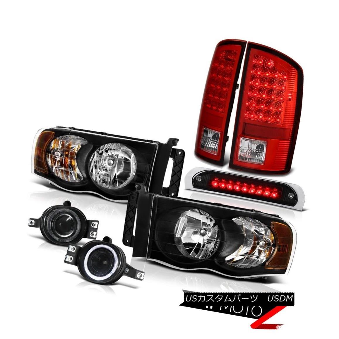 テールライト Pair Black Headlamps Bright L.E.D Taillamps Bumper Fog High 3rd LED 02-05 Ram WS ペアブラックヘッドランプブライトL.E.Dタイルランプバンパーフォグハイ3番目のLED 02-05 Ram WS