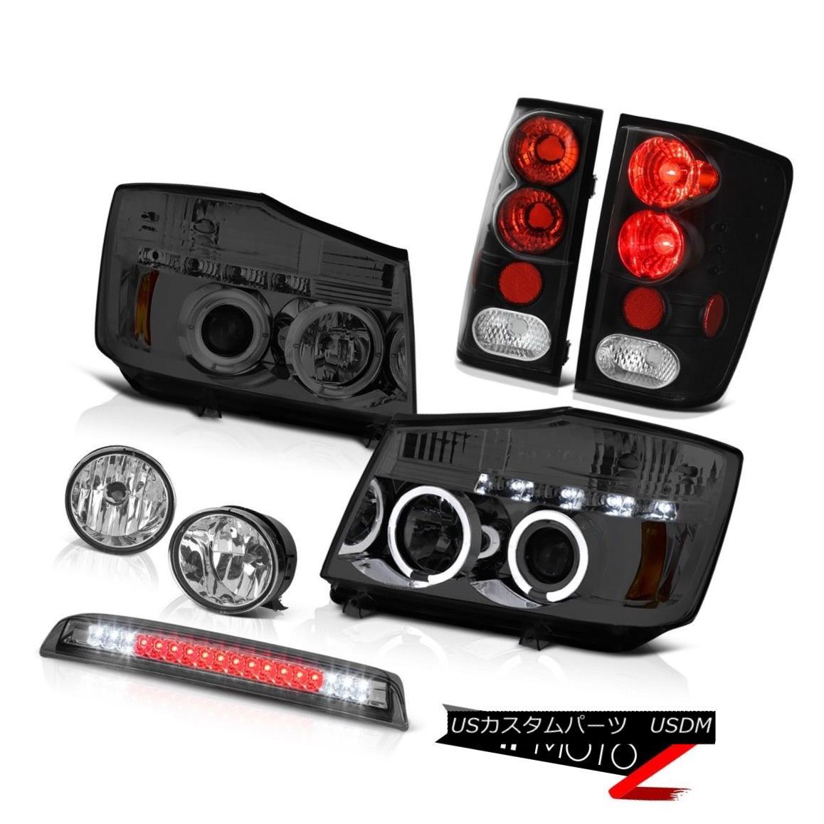 テールライト For 04-15 Titan Pro-4X Tinted Headlights Tail Lights Bumper Fog High LED Smoke 04-15タイタンPro-4XティンテッドヘッドライトテールライトバンパーフォグハイLEDスモーク