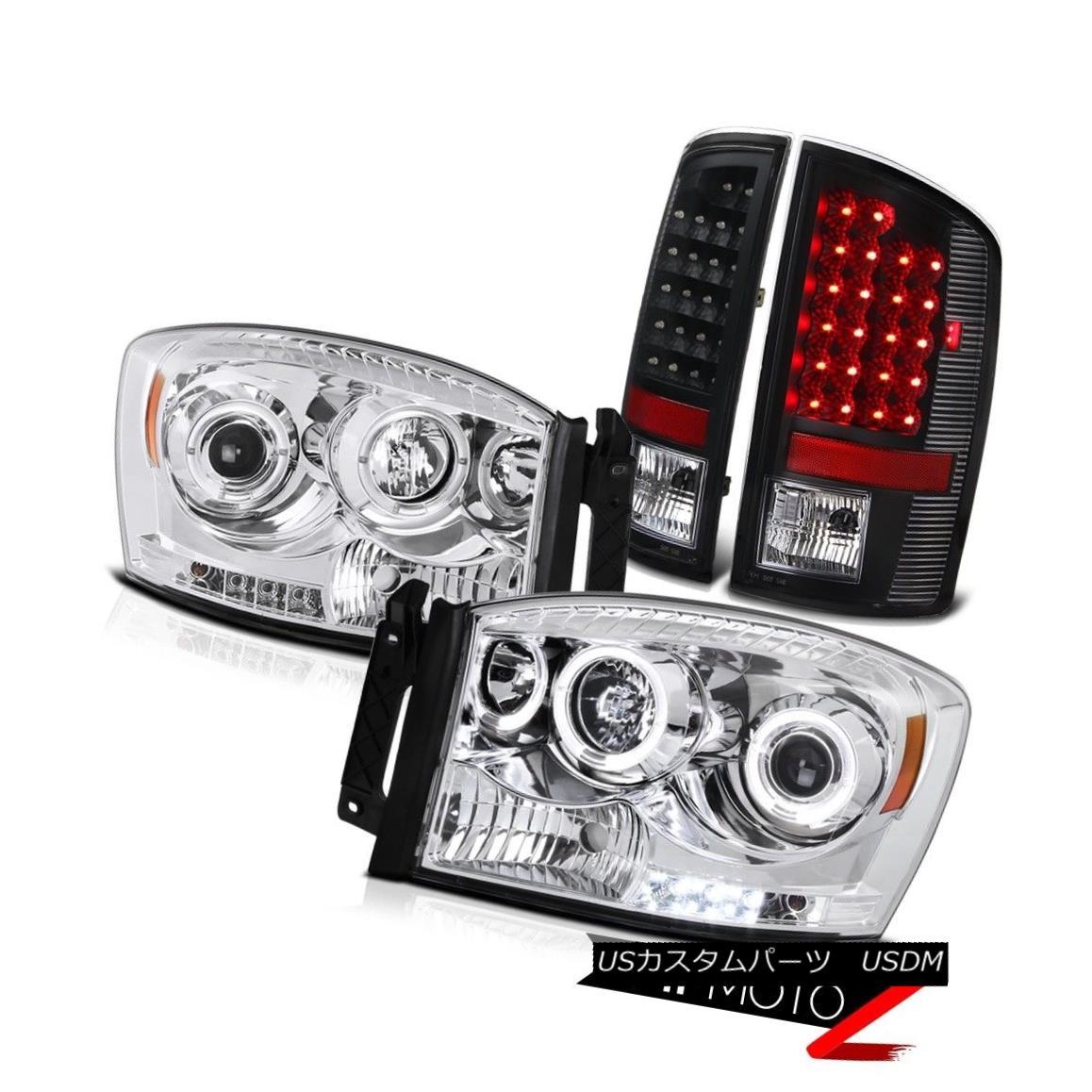 テールライト 2006 RAM 1500 Left+Right Euro HalO Projector Headlamp+Black LED Tail Brake Lamp 2006 RAM 1500左+右ユーロHalOプロジェクターヘッドランプ+黒LEDテールブレーキランプ