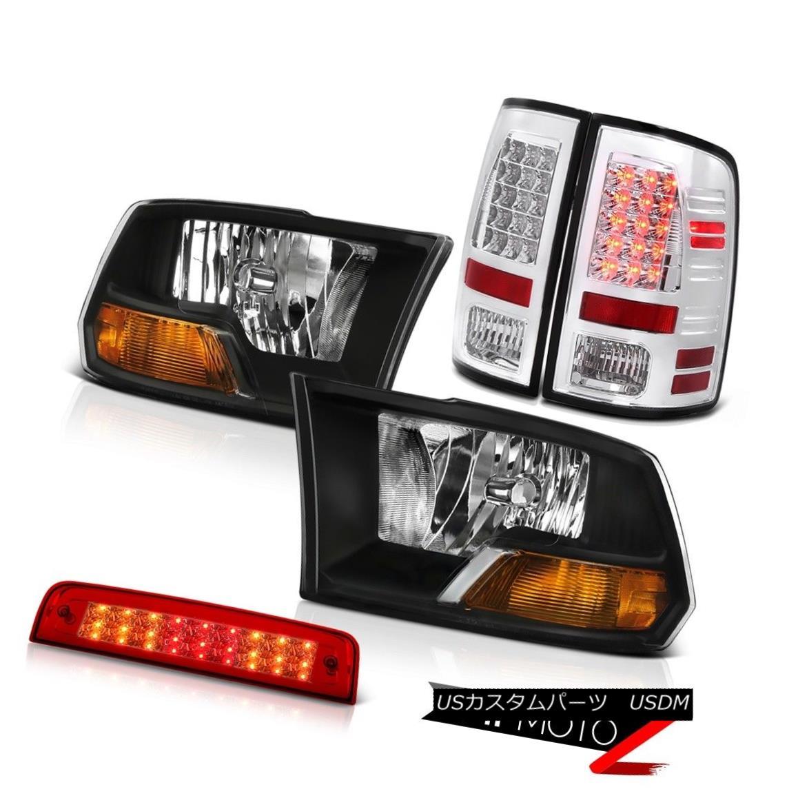 テールライト 09-18 Ram 1500 SLT High Stop Light Clear Chrome Tail Lights Headlights LED SMD 09-18ラム1500 SLTハイストップライトクリアクロームテールライトヘッドライトLED SMD
