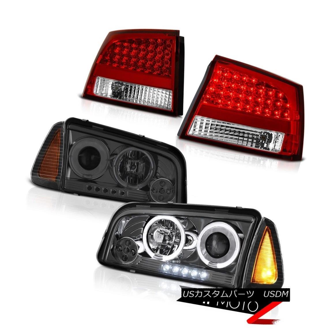 テールライト 2006 2007 2008 Charger SXT Tail lights inky black signal lamp smokey headlights 2006年2007年2008充電器SXTテールライト黒色の信号ランプスモーヘッドライト