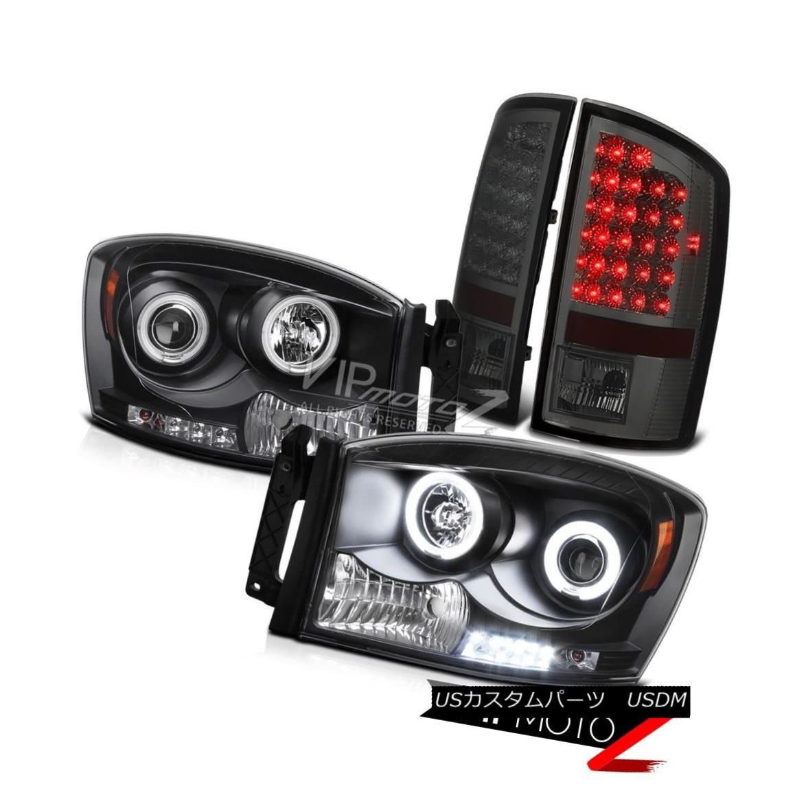 テールライト 07-08 Dodge RAM 1500/2500 Black CCFL Projector Halo Headlight+Smoke LED Taillamp 07-08ダッジRAM 1500/2500ブラックCCFLプロジェクターハローヘッドライト+スモーク e LEDタイルランプ