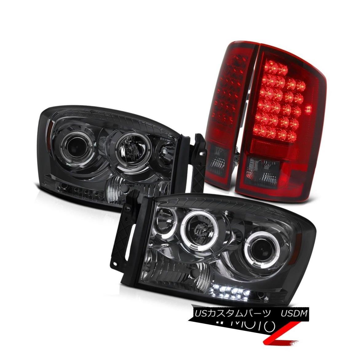 テールライト Smoke HaLo Projector Headlight+Black LED Taillamp Assembly 2006 Dodge RAM Pickup Smoke HaLoプロジェクターヘッドライト+ブラック k LEDテールランプアセンブリ2006ダッジRAMピックアップ