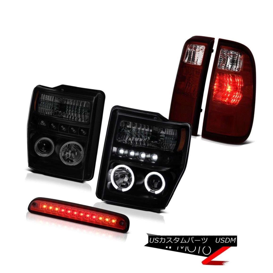 テールライト Halo Projector Headlamps High Stop LED Red Smoke TailLights 2008-2010 F250 F350 ハロープロジェクターヘッドランプハイストップLEDレッド煙テールライト2008-2010 F250 F350
