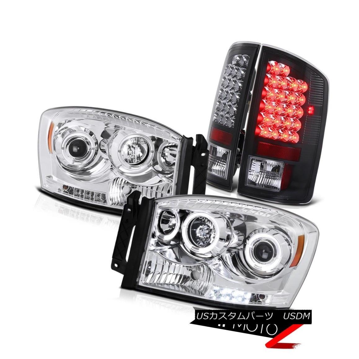 テールライト Dodge 2007-08 RAM Left+Right Chrome Halo Projector Headlight+Black LED Taillight Dodge 2007-08 RAM Left + Right Chrome Haloプロジェクターヘッドライト+ Blac k LEDテールライト