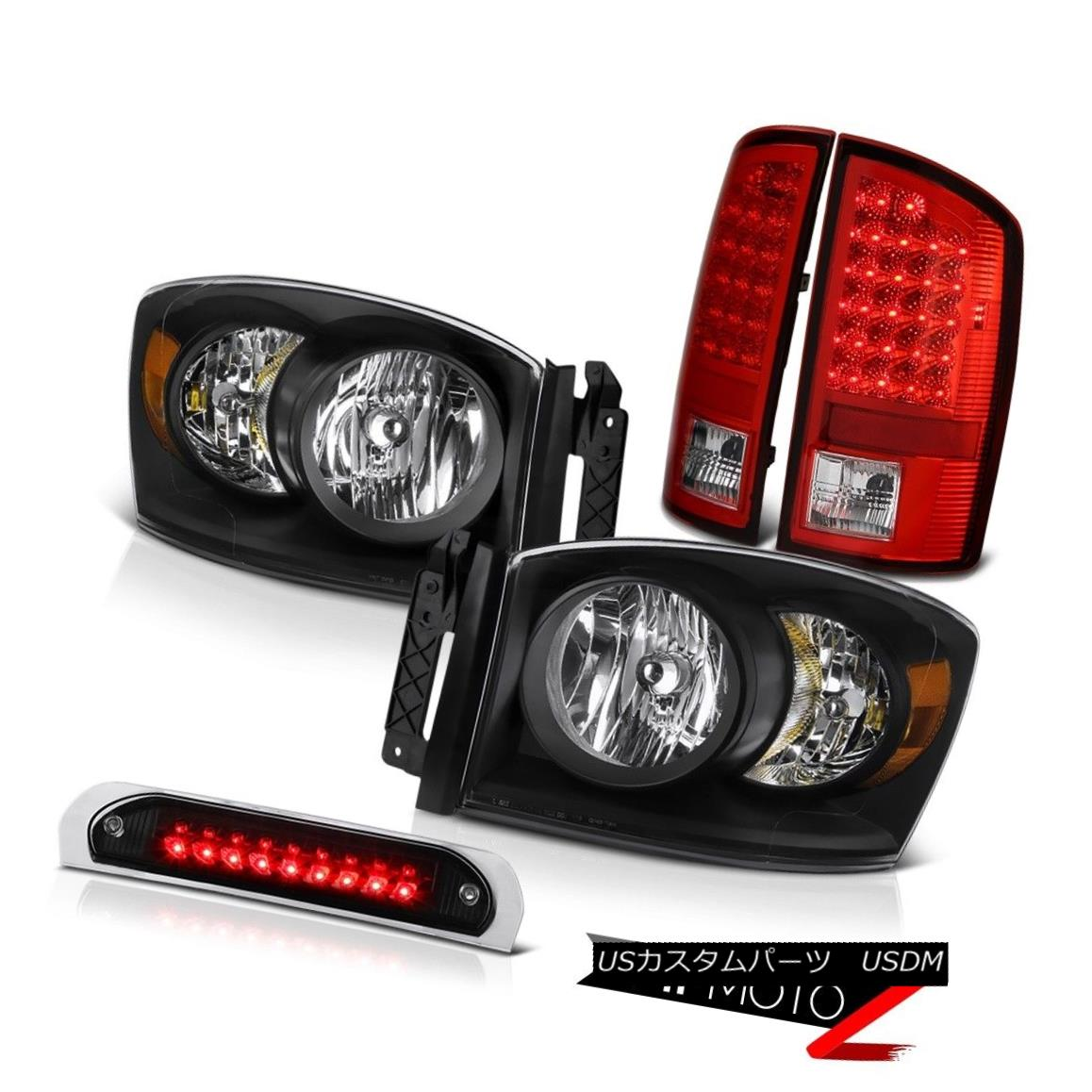 テールライト [Magnetite Black]Pair Headlamps LED Taillights Red High Brake Cargo 07 08 Ram V8 [マグネタイトブラック]ペアヘッドランプLEDテールライトレッドハイブレーキキャロル07 08ラムV8