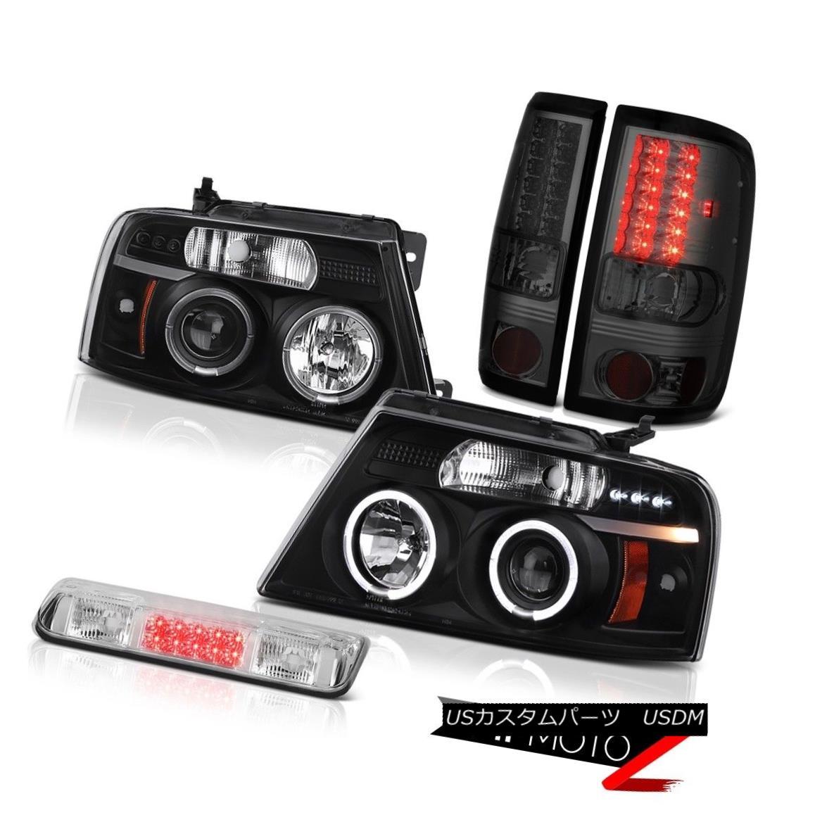 テールライト 04-08 Ford F150 XL 3rd Brake Lamp Headlamps Smokey Taillights Halo Rim Dual Halo 04-08フォードF150 XL第3ブレーキランプヘッドランプスモーキーティールライトハローリムデュアルヘイロー