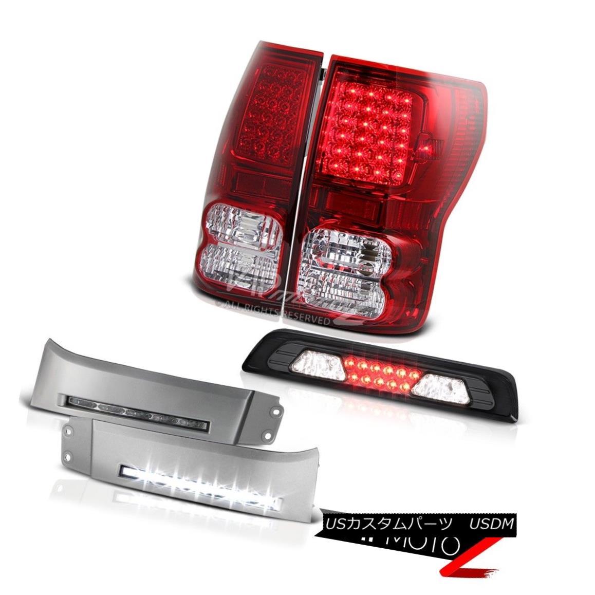 テールライト 2007-2013 Toyota Tundra SR5 DRL Strip Dark Smoke Roof Brake Light Taillamps LED 2007-2013トヨタトンドラSR5 DRLストリップダークスモークルーフブレーキライトトライアングルLED