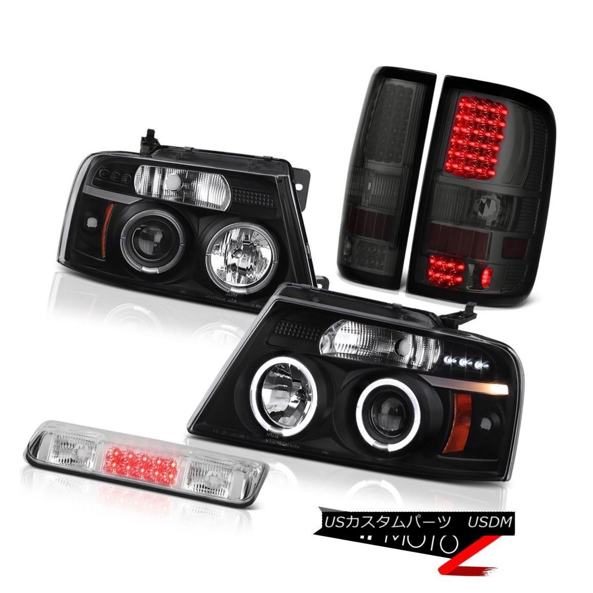 テールライト 04-08 Ford F150 King Ranch Roof Cab Light Smokey Tail Lamps Headlamps Dual Halo 04-08 Ford F150キングランチルーフキャブライトスモーキーテールランプヘッドランプデュアルヘイロー