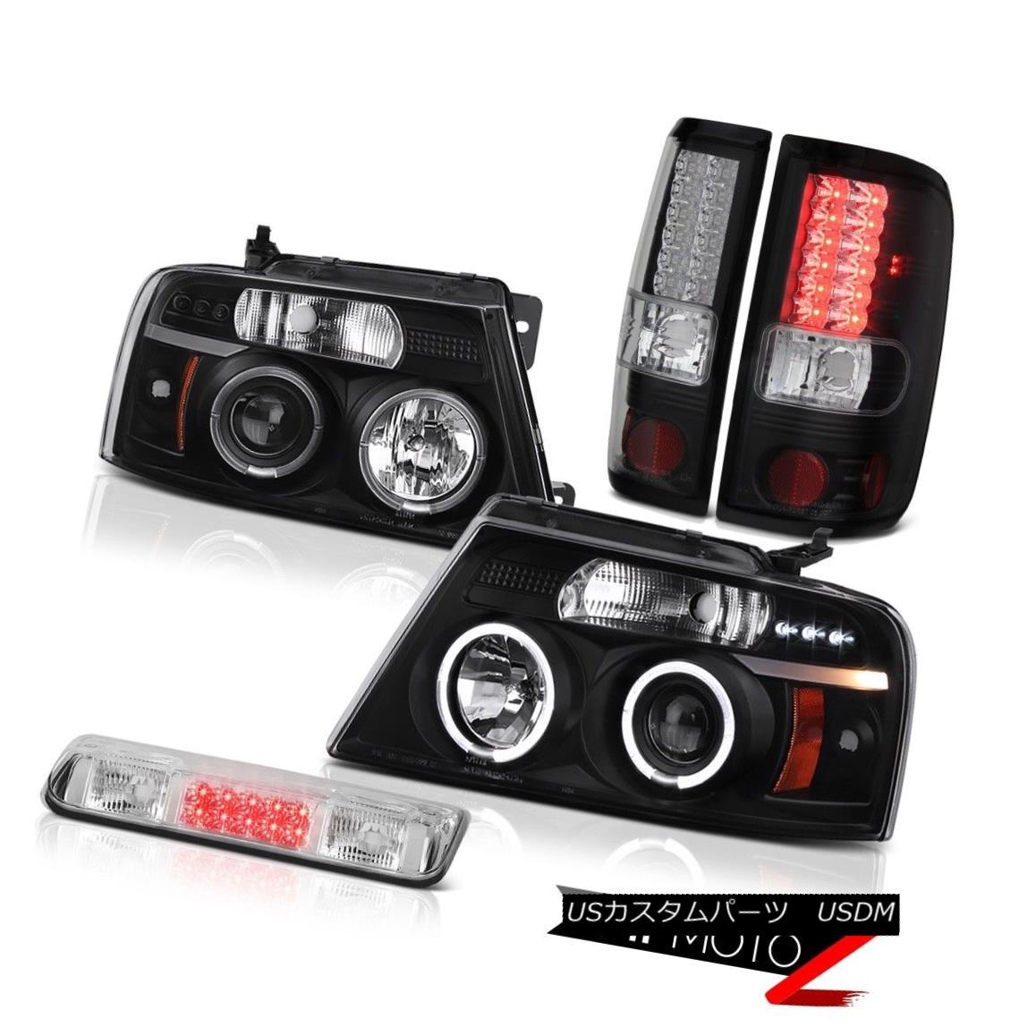 テールライト 04-08 Ford F150 Lariat 3rd Brake Lamp Black Headlights Tail Lamps LED Halo Ring 04-08 Ford F150 Lariat 3rdブレーキランプブラックヘッドライトテールランプLED Halo Ring