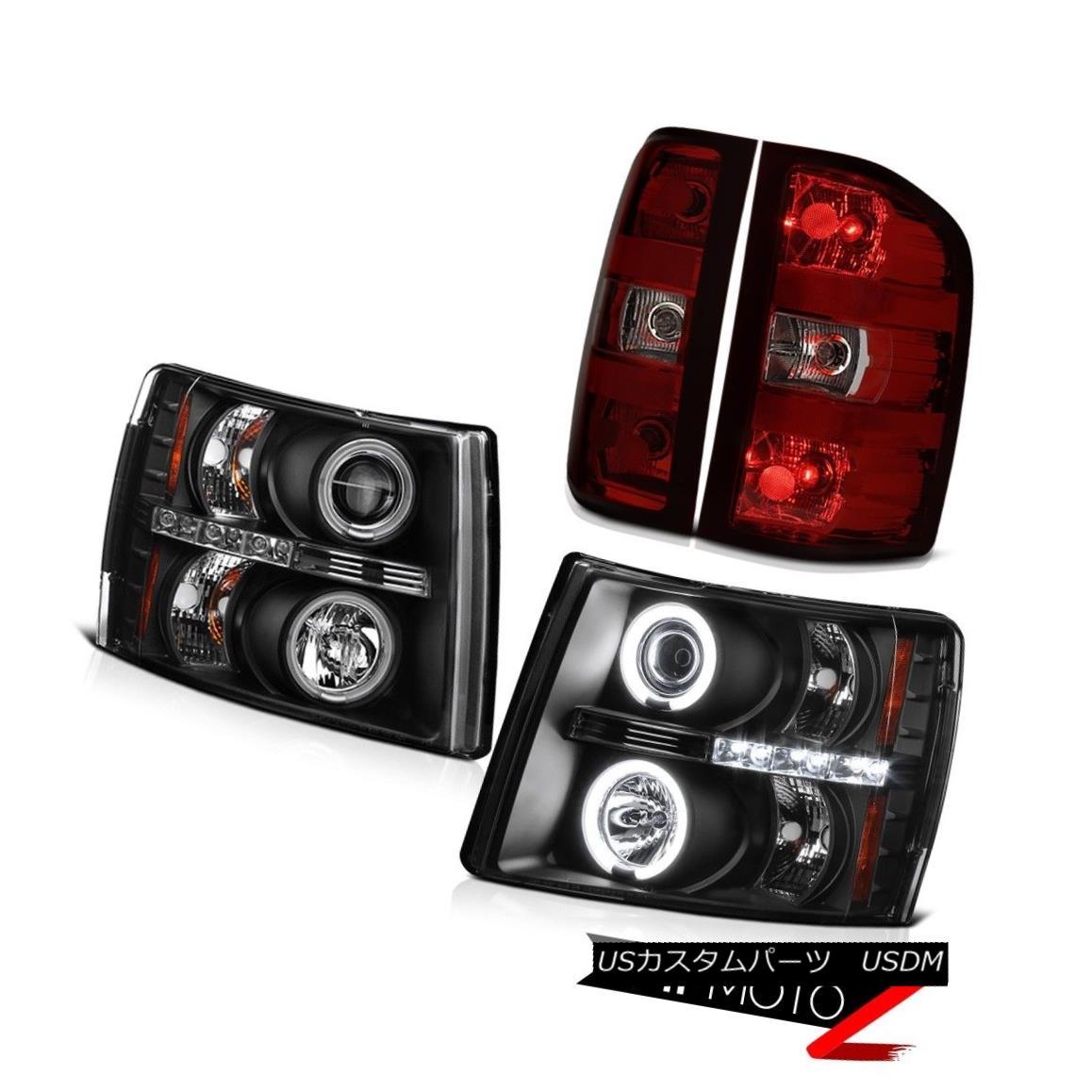 テールライト 07-13 Chevy Silverado 1500 Red Smoke Tail Lights Headlights Ccfl Halo Brightest 07-13 Chevy Silverado 1500レッド煙テールライトヘッドライトCcfl Halo Brightest