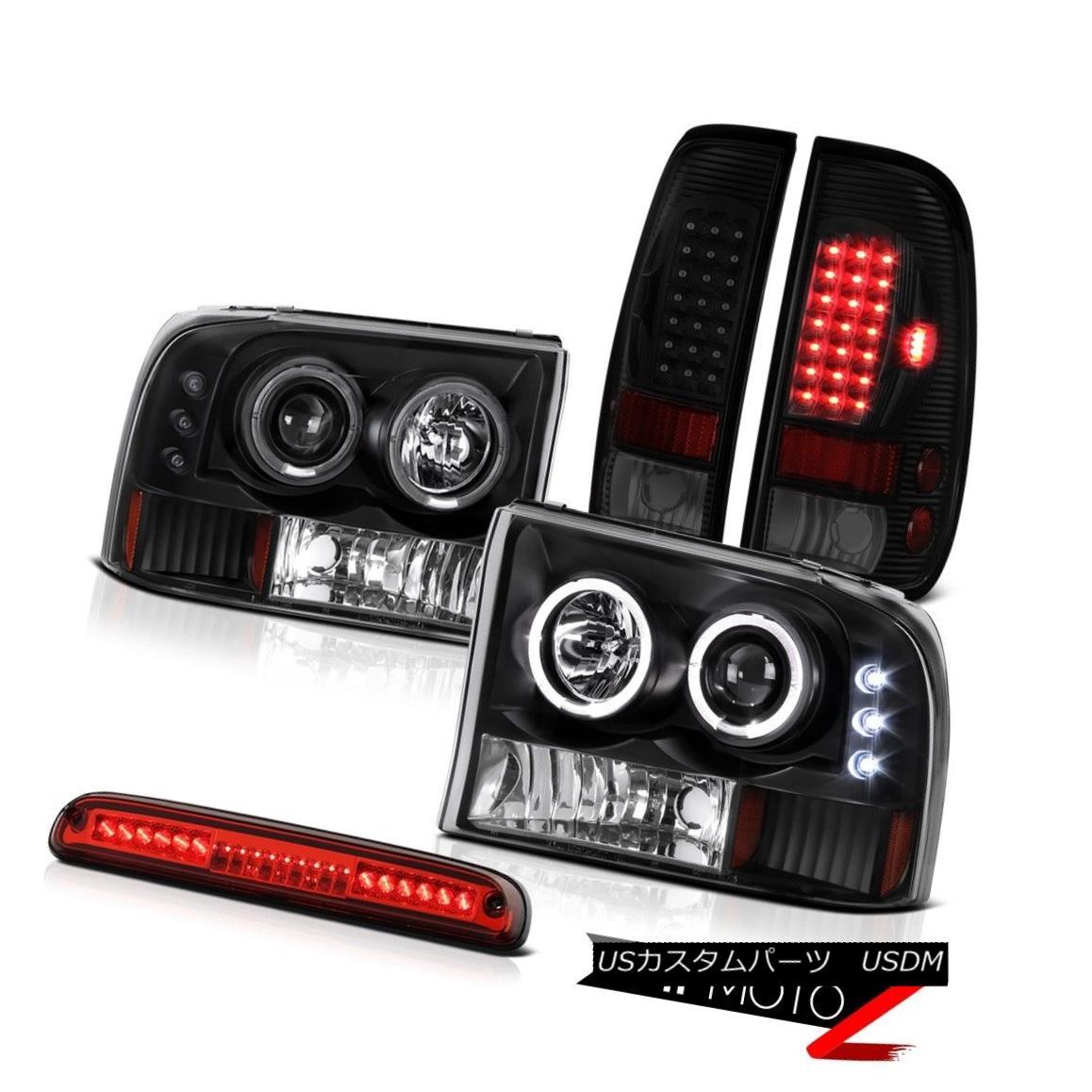 テールライト 99-04 F350 6.0L Sinister Black Tail Lamps Headlamps Wine Red Third Brake Light 99-04 F350 6.0Lシニスターブラックテールランプヘッドランプワインレッド第3ブレーキライト