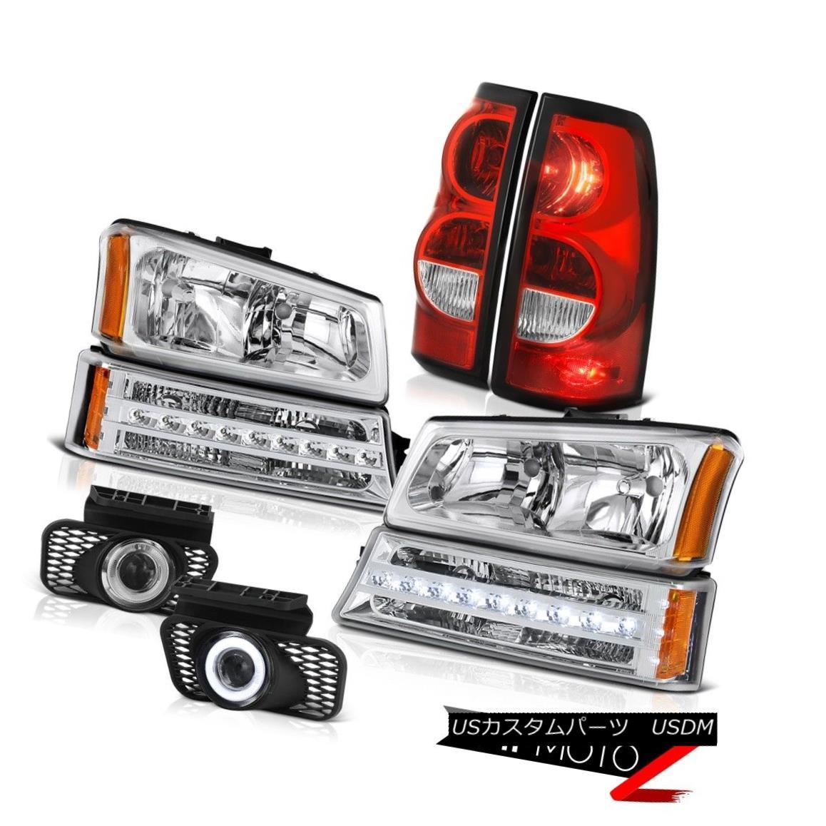 テールライト 03-06 Silverado Crystal Clear Foglamps Red Tail Lights Turn Signal Headlamps 03-06シルバラードクリスタルクリアフォグランプレッドテールライトターンシグナルヘッドランプ