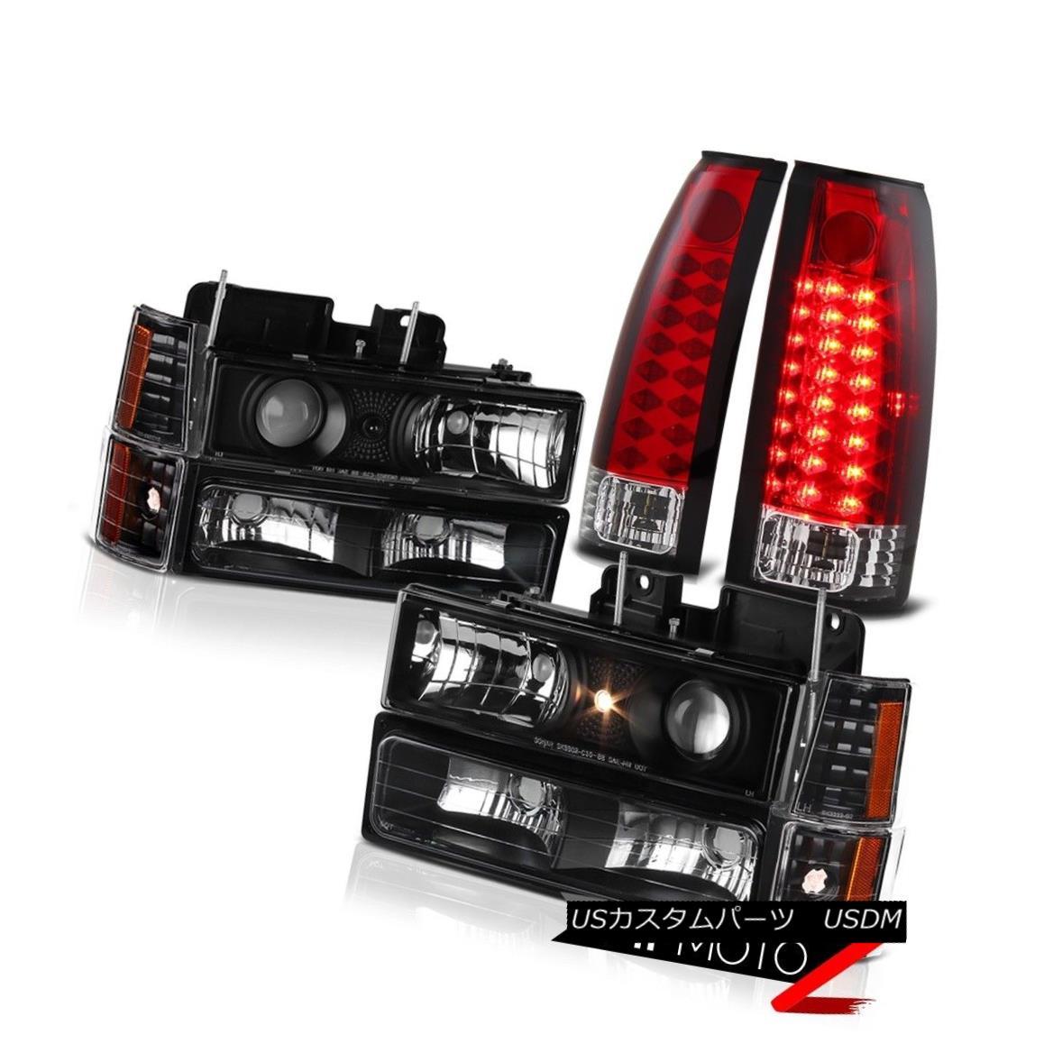 テールライト 1994-1998 GMC Sierra Yukon Suburban Black Projector Headlight Red LED Brake Lamp 1994-1998 GMC Sierra Yukon郊外型ブラックプロジェクターヘッドライト赤色LEDブレーキランプ