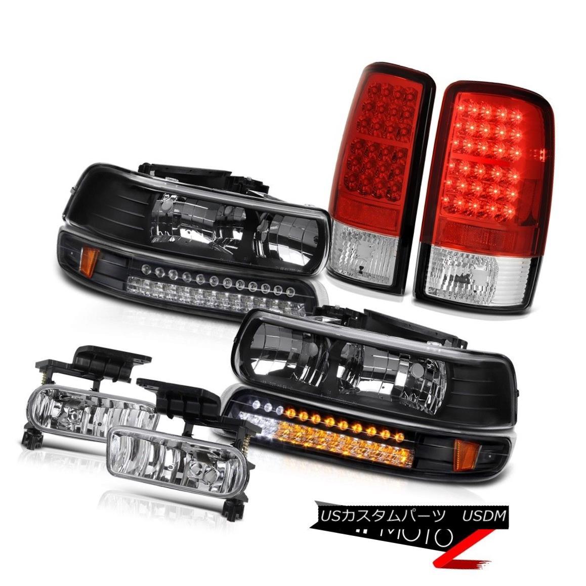 テールライト Black Headlamps SMD Turn Signal LED Tail Lights Bumper Fog 2000-2006 Suburban LS ブラックヘッドランプSMDターンシグナルLEDテールライトバンパーフォグ2000-2006郊外LS