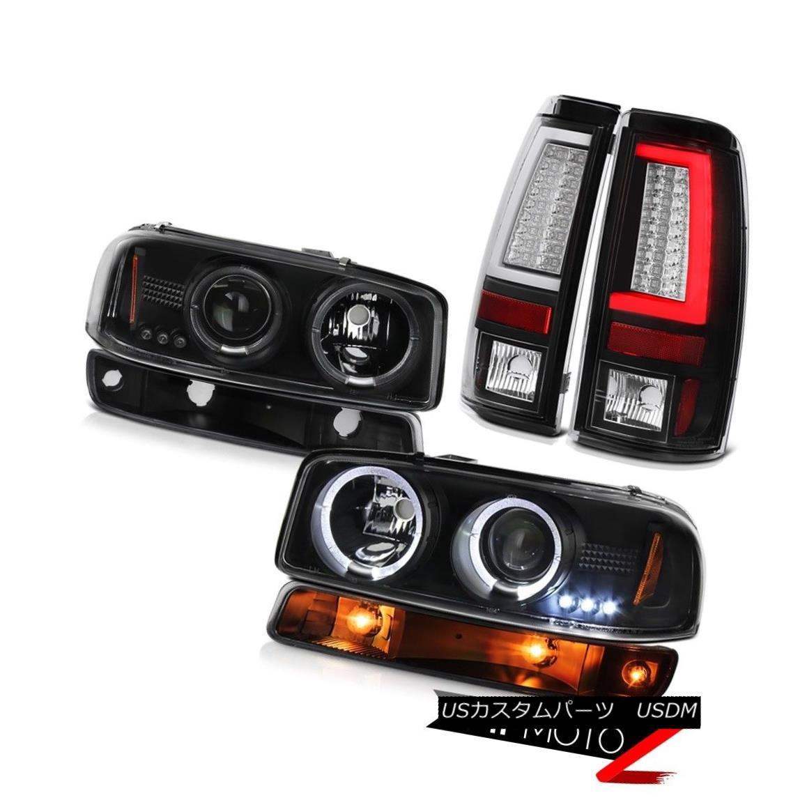 テールライト 99-06 Sierra SLT Black Tail Lights Bumper Lamp Headlights Light Bar LED Halo Rim 99-06 Sierra SLTブラックテールライトバンパーランプヘッドライトライトバーLED Halo Rim