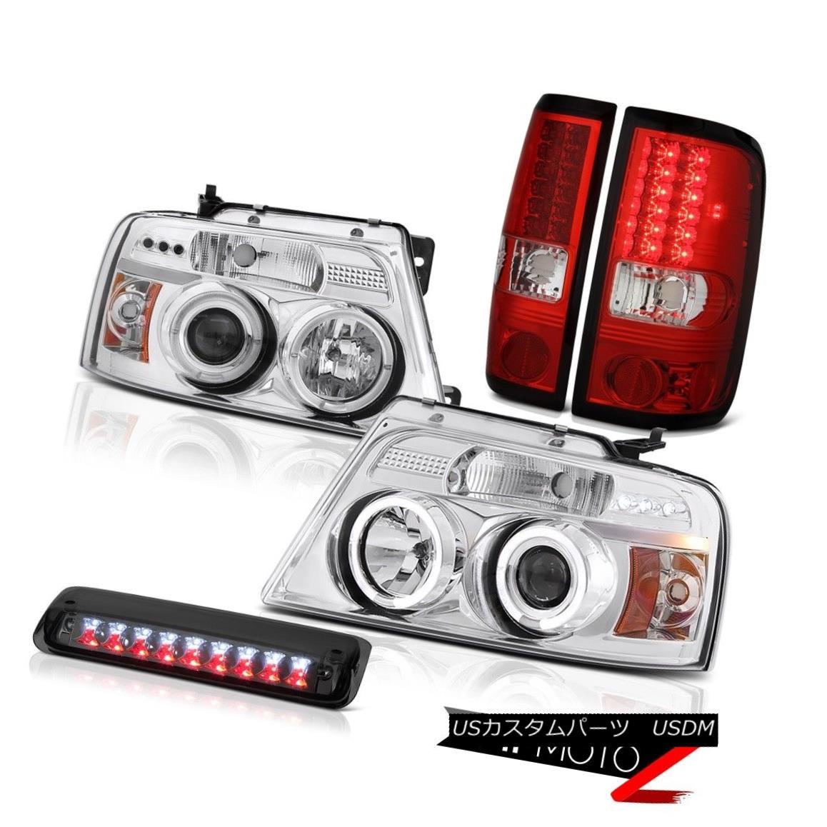テールライト 04-08 Ford F150 XLT Roof Cargo Lamp Headlamps Red Clear Taillamps LED Dual Halo 04-08 Ford F150 XLTルーフカーゴランプヘッドランプレッドクリアタイルランプLEDデュアルヘイロー